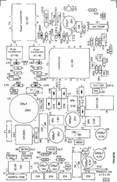 b power circuit board ic and other element location and